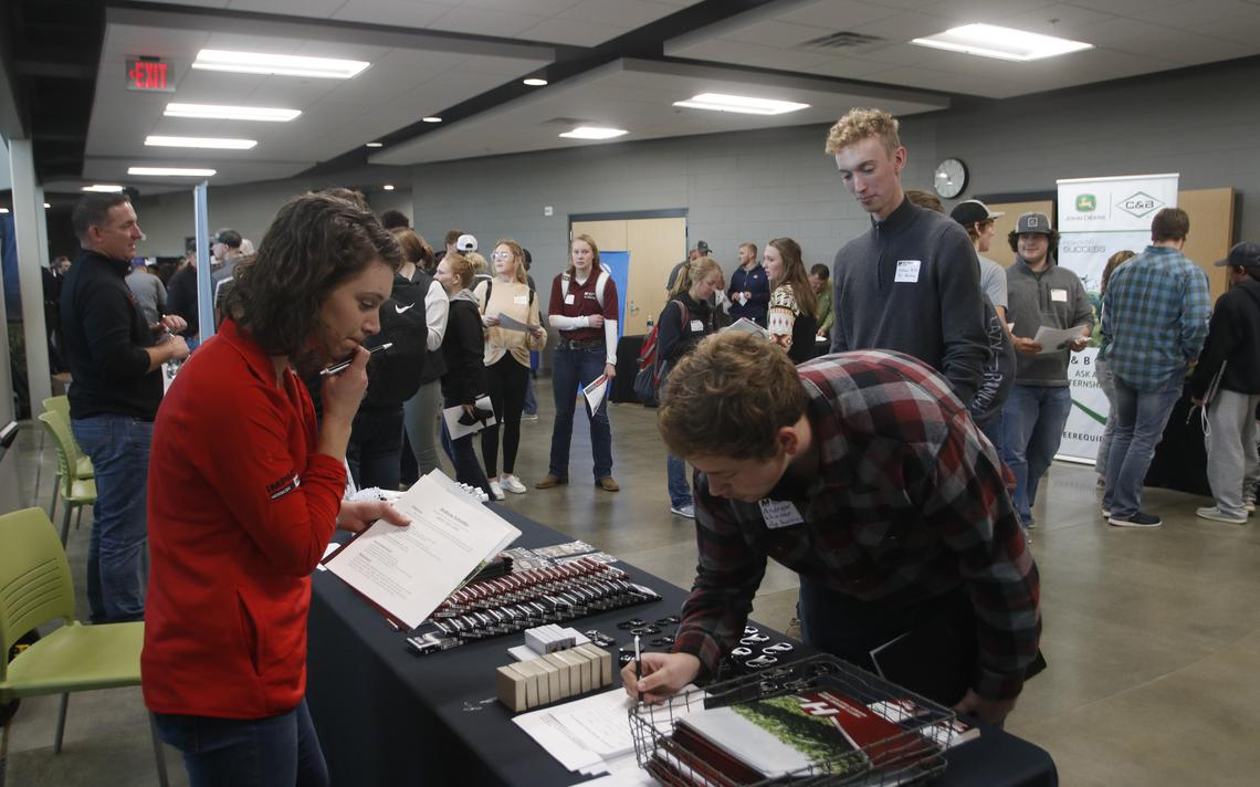 Business recruiters and students filled a portion of the Nordby Trades Center on the campus of Mitchell Technical College Thursday for the fifth annual agriculture internship fair. (Erik Kaufman / Mitchell Republic)