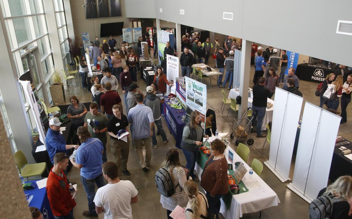 Agriculture students met agriculture business representatives Thursday at the fifth annual agriculture internship fair at Mitchell Technical College. (Erik Kaufman / Mitchell Republic)